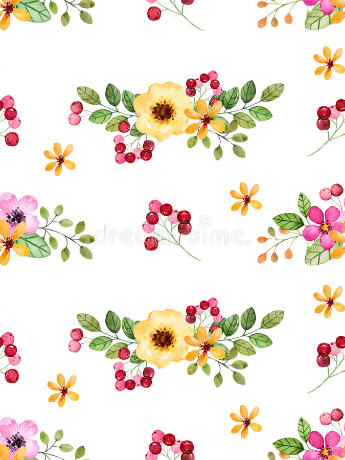 Modelo inconsútil floral de la acuarela con las flores multicoloras, hojas, bayas libre illustration