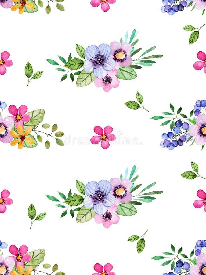 Modelo inconsútil floral de la acuarela con las flores multicoloras, hojas, bayas stock de ilustración