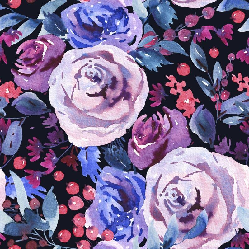 Modelo inconsútil floral de la acuarela del extracto, Violet Watercolor Roses, flores, ramitas, hojas, bayas, brote stock de ilustración