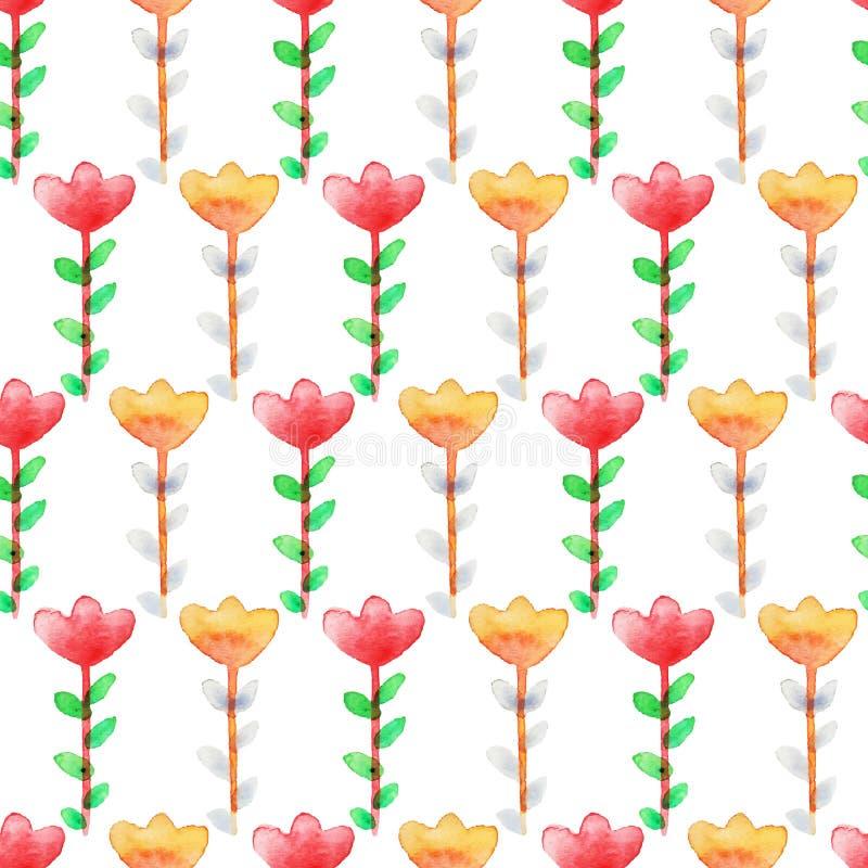 Modelo inconsútil floral de la acuarela Fondo colorido del resorte Ilustración del vector stock de ilustración