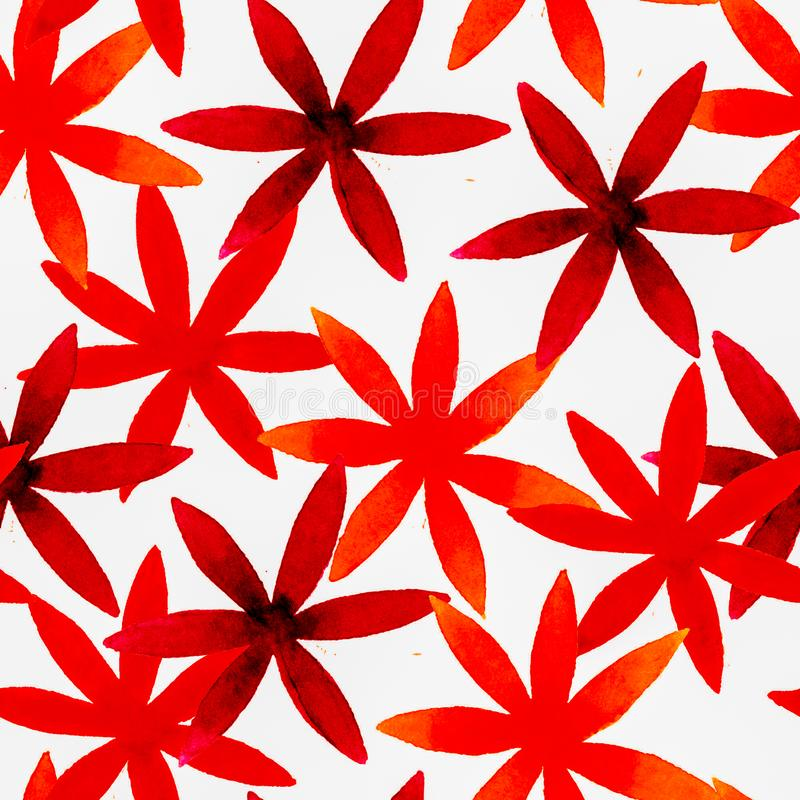Modelo inconsútil floral de la acuarela linda Boho rojo fotos de archivo libres de regalías