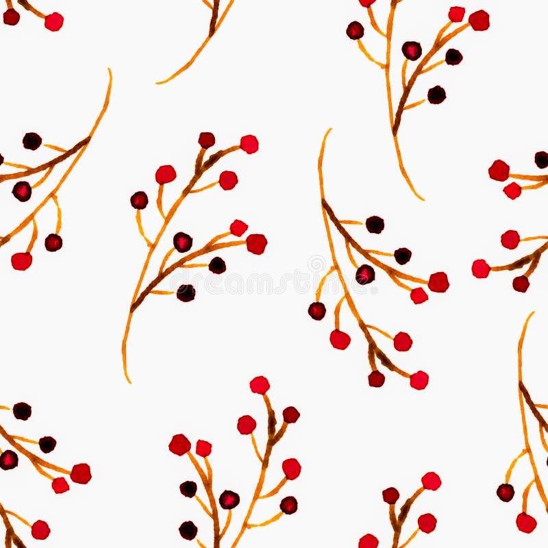 Modelo inconsútil floral de la acuarela linda Boho rojo ilustración del vector
