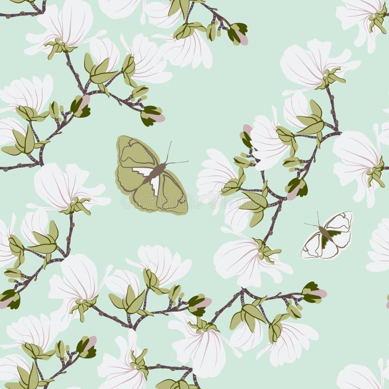 Modelo inconsútil floral de las magnolias Los adornos florecientes botánicos de la menta de la vainilla dispersaron al azar Textu ilustración del vector