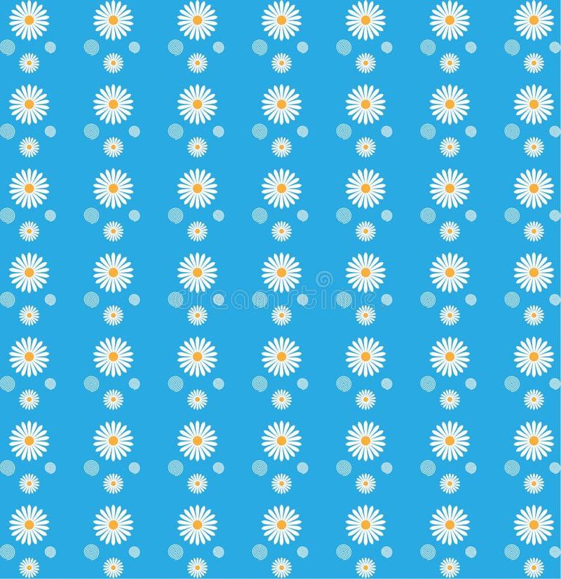 Modelo inconsútil floral de las margaritas blancas en fondo azul ilustración del vector