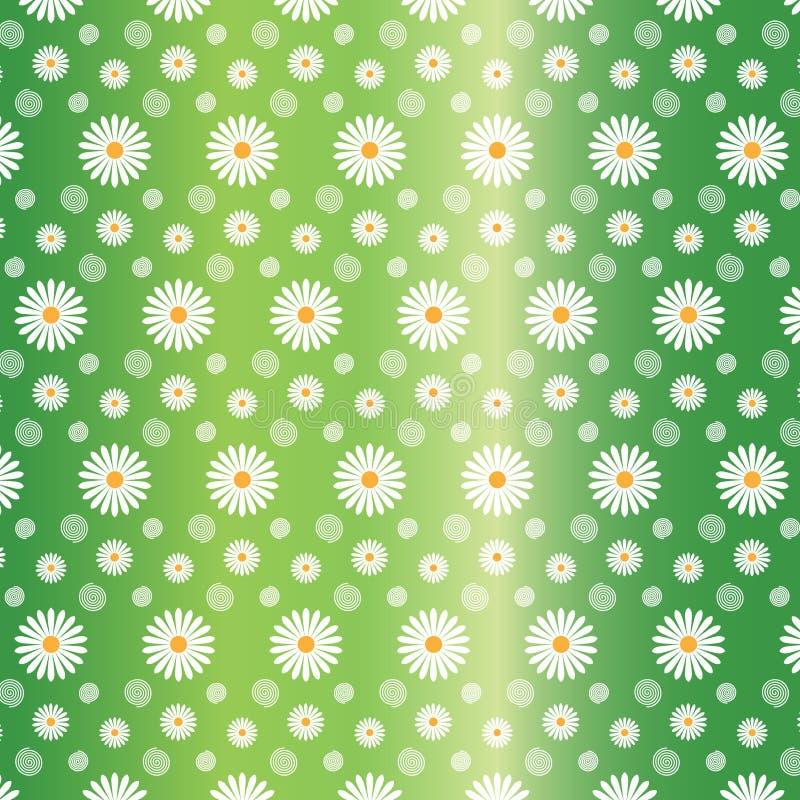 Modelo inconsútil floral de las margaritas blancas en fondo del verde de Gradated ilustración del vector