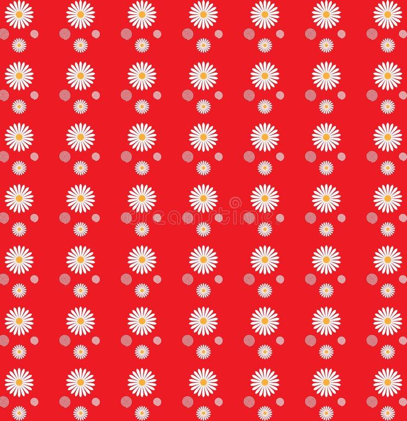 Modelo inconsútil floral de las margaritas blancas en fondo rojo stock de ilustración