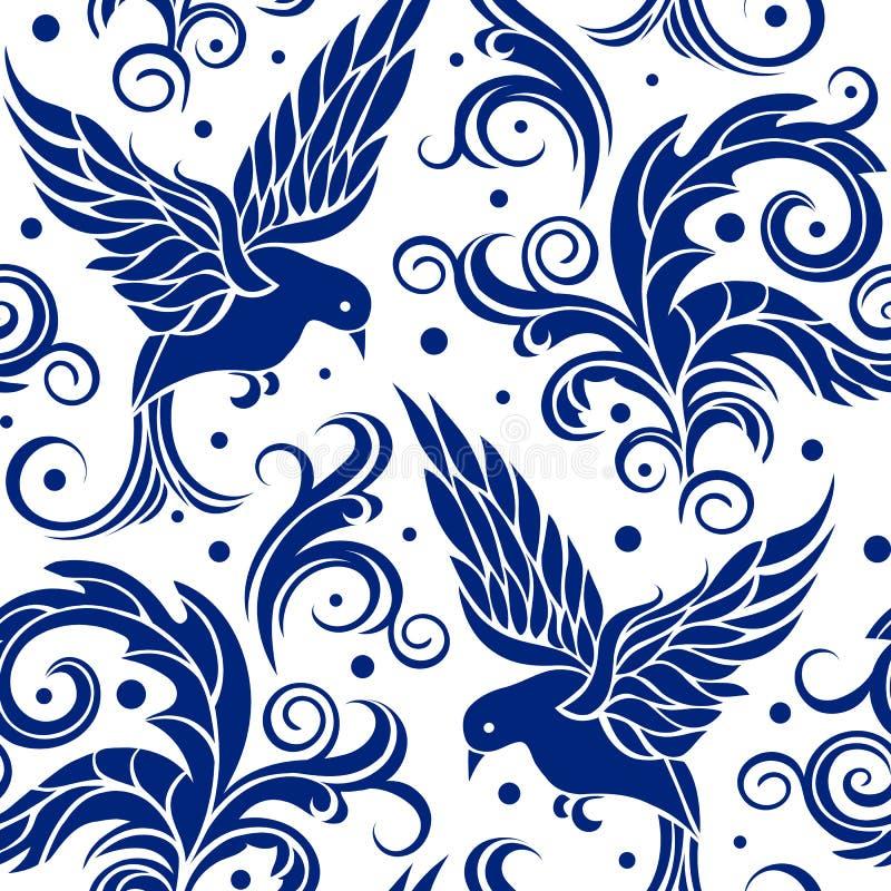 Modelo inconsútil floral de los pájaros azules en el fondo blanco stock de ilustración