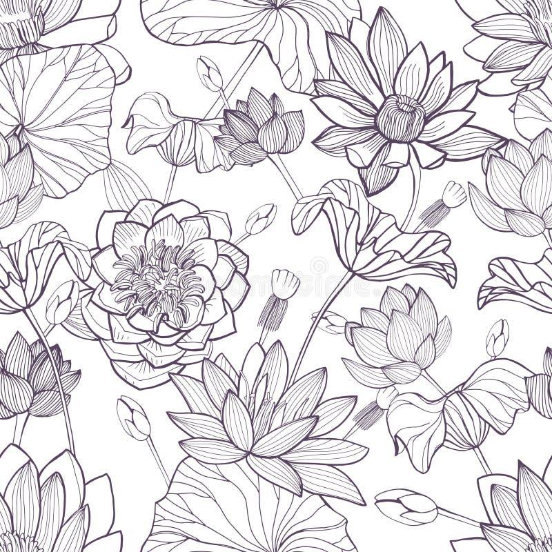 Modelo inconsútil floral de Lotus Fondo monocromático dibujado mano ilustración del vector