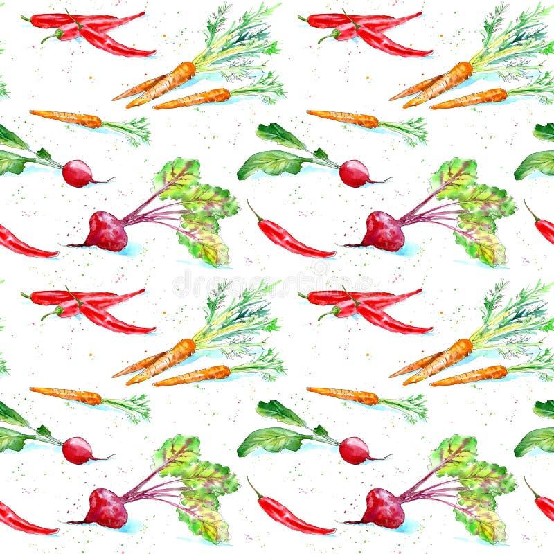 Modelo inconsútil floral de una zanahoria, de rábanos, de remolachas y de la pimienta de chile ilustración del vector
