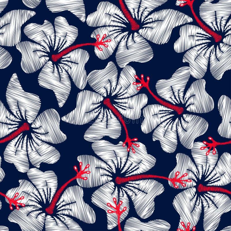 Modelo inconsútil floral del bordado tropical blanco del hibisco stock de ilustración