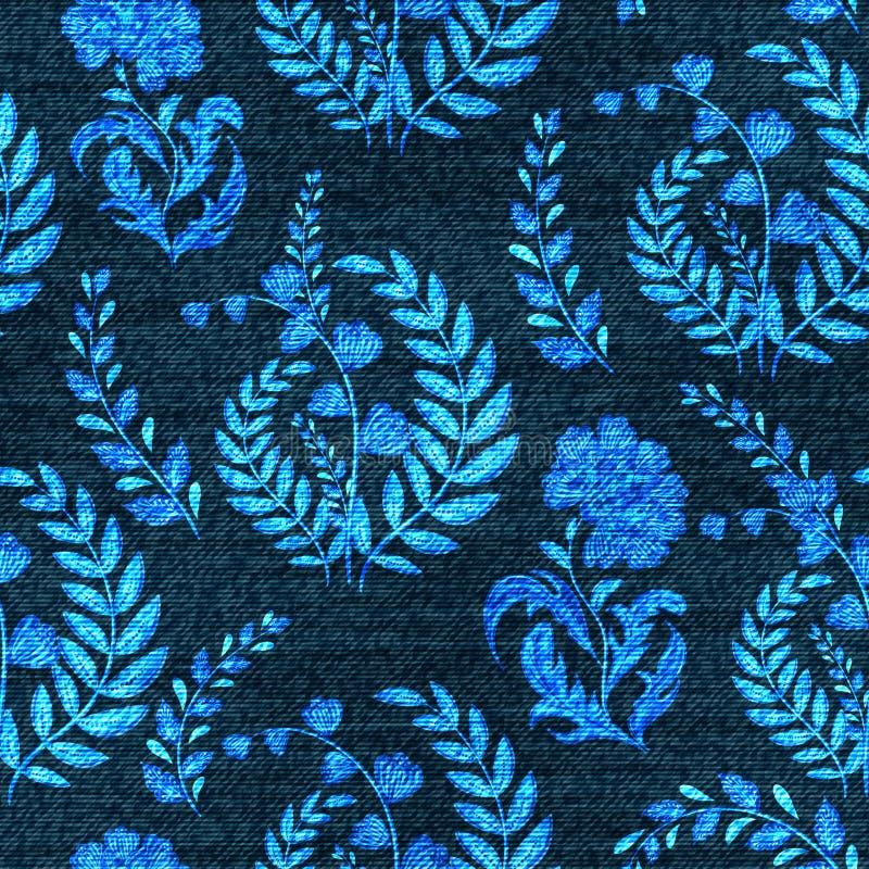 Modelo inconsútil floral del dril de algodón del vector Fondo descolorado de los vaqueros con las flores de la fantasía Fondo del ilustración del vector