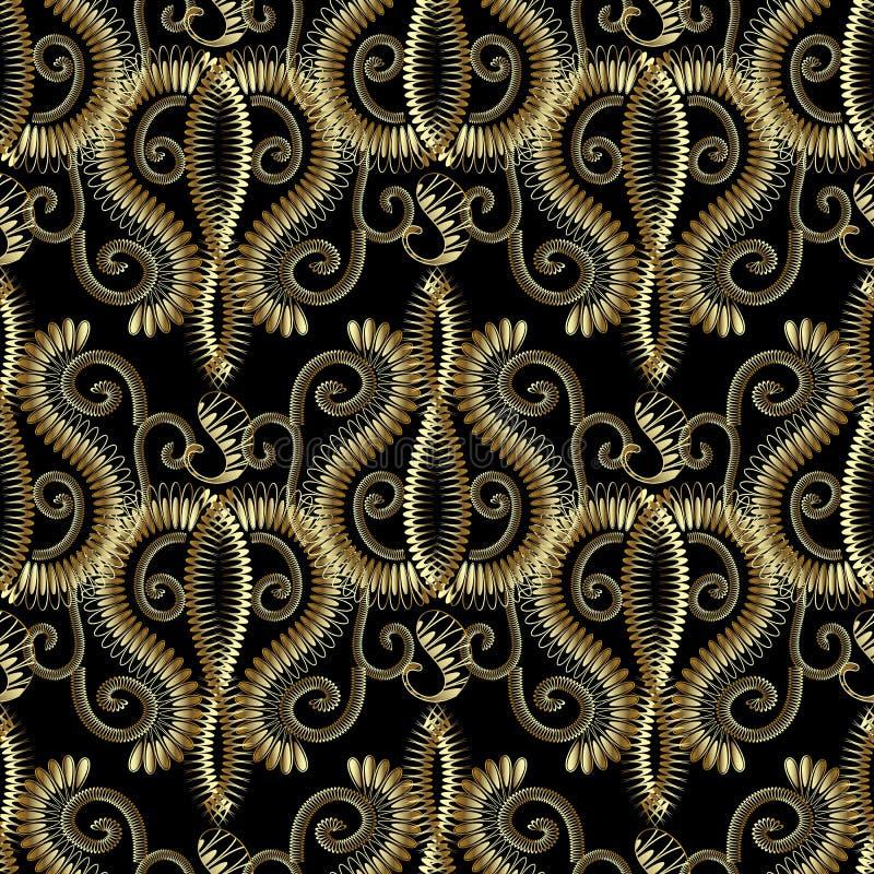 Modelo inconsútil floral del oro 3d de Paisley Backgr modelado del vector ilustración del vector