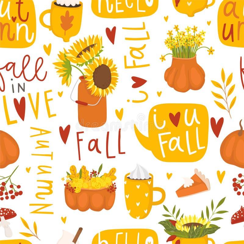 Modelo inconsútil floral del otoño en estilo del garabato stock de ilustración
