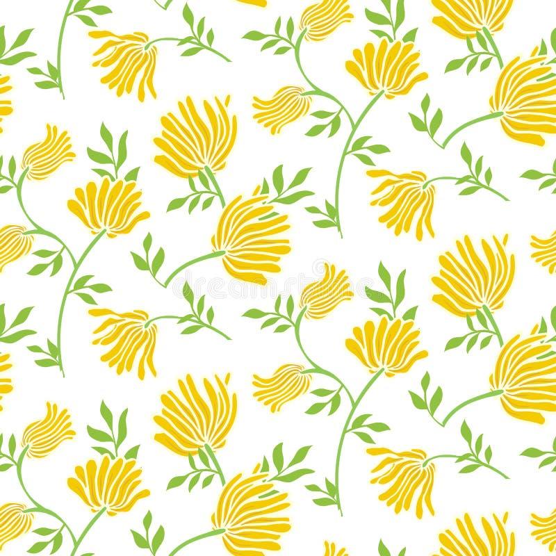 Modelo inconsútil floral del vector con las flores del vintage Fondo moderno elegante del verano stock de ilustración