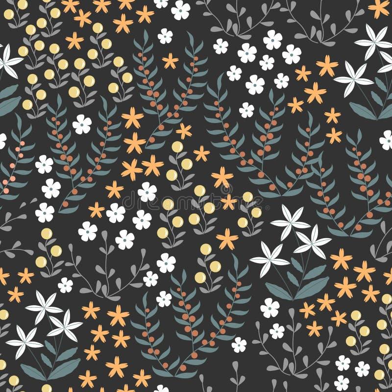 Modelo inconsútil floral del vector con los elementos planos abstractos del garabato tales como plantas, flores, bayas e hierba B stock de ilustración