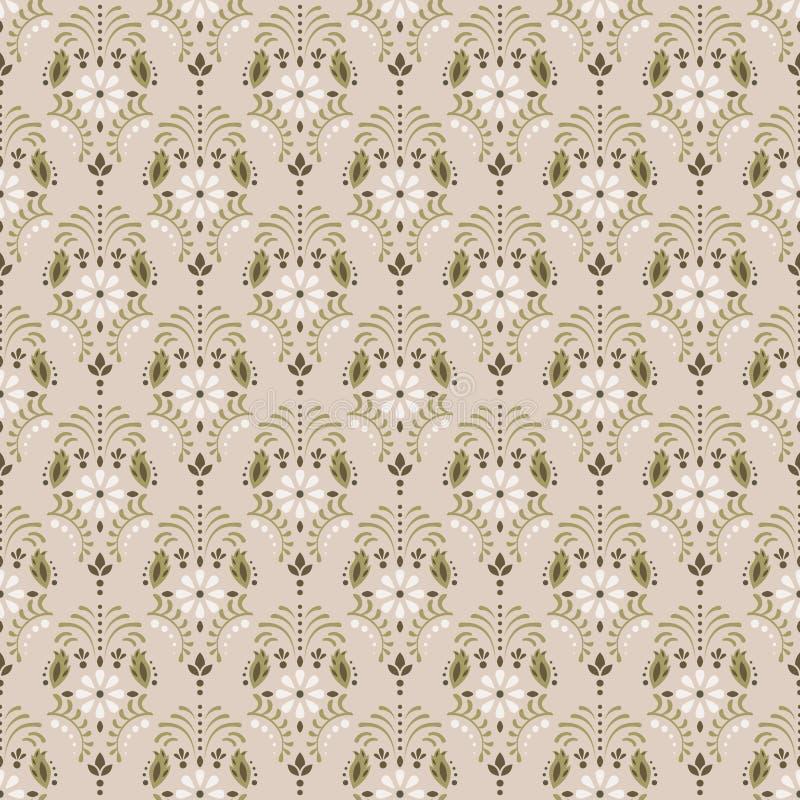 Modelo inconsútil floral del vector del damasco beige ilustración del vector