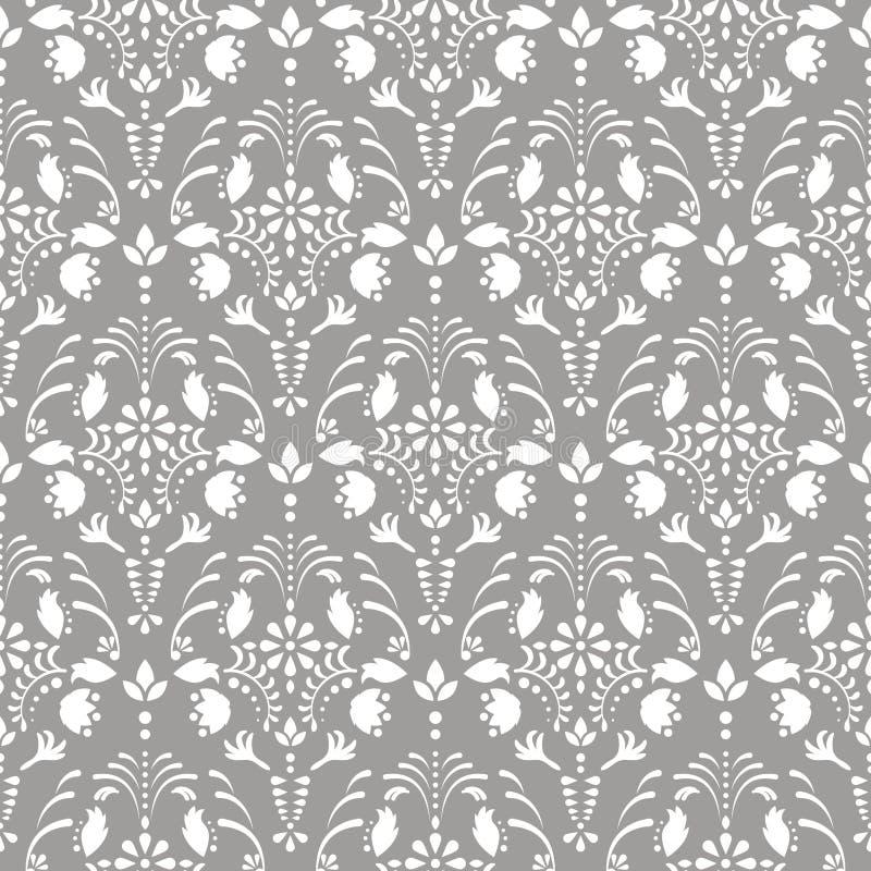 Modelo inconsútil floral del vector del damasco gris ilustración del vector
