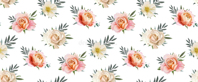 Modelo inconsútil floral del vector, diseño del backgorund: rosa de jardín p ilustración del vector