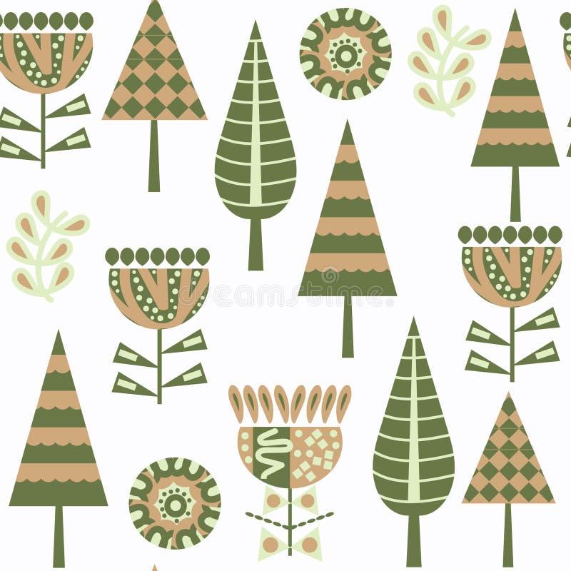 Modelo inconsútil floral del vector en menú de la muestra Modelo lindo con los árboles, flores libre illustration