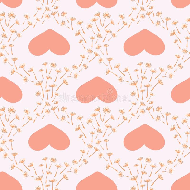 Modelo inconsútil floral del vector lindo con las semillas y los corazones estilizados exhaustos de flor del diente de león de la libre illustration