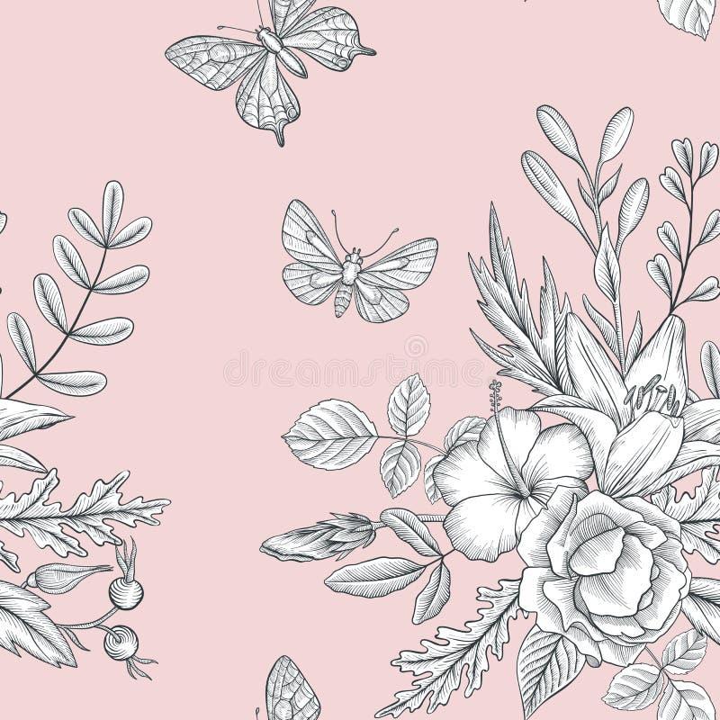 Modelo inconsútil floral del vector del vintage stock de ilustración