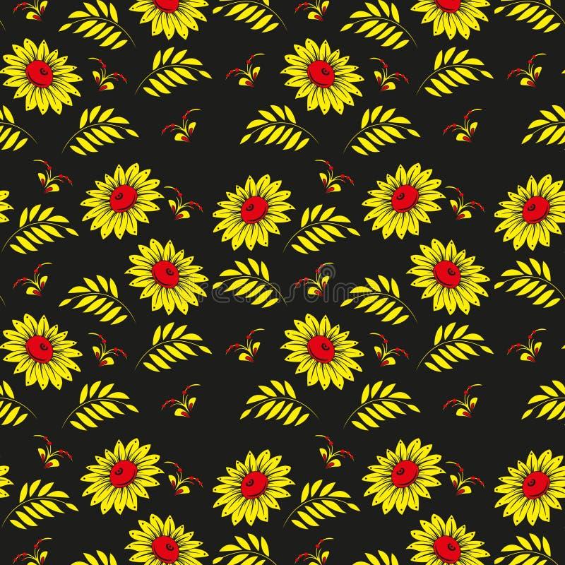 Modelo inconsútil floral. Diseño ruso del fondo del khokhloma (Hohloma). Oro y colores rojos en fondo negro. ilustración del vector