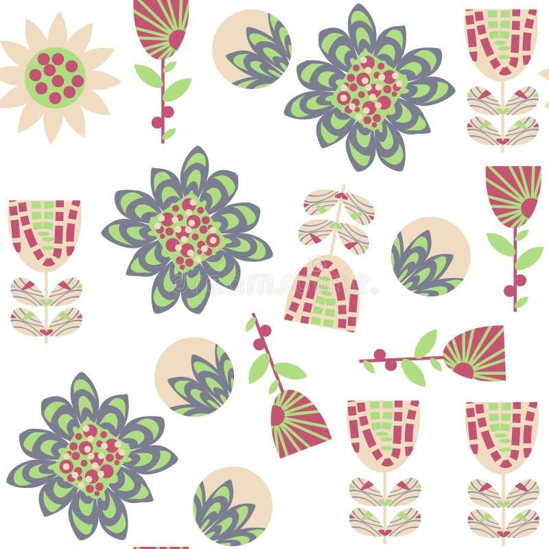 Modelo inconsútil floral en colores apacibles Está situado en swatc stock de ilustración