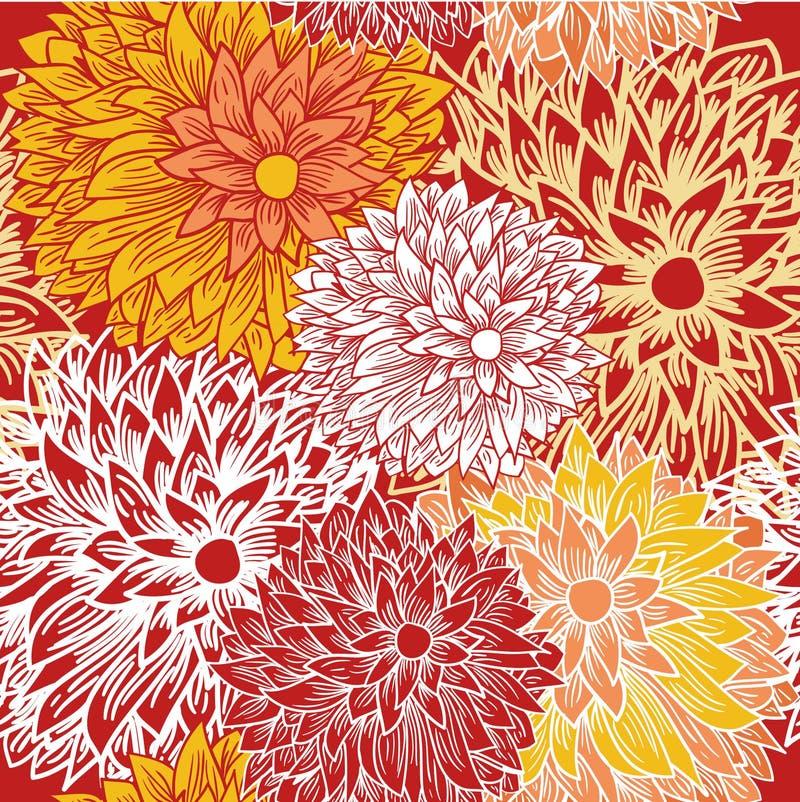 Modelo inconsútil floral en colores del otoño stock de ilustración
