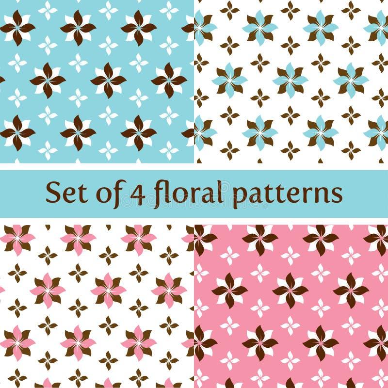 Modelo inconsútil floral en rosado y azul en colores pastel libre illustration