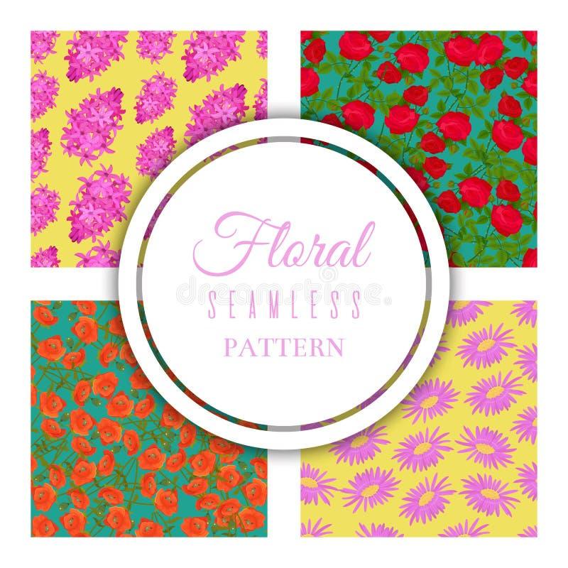 Modelo inconsútil floral fijado para la materia textil, tela, ejemplo del vector del papel de embalaje Diversas flores coloridas  libre illustration