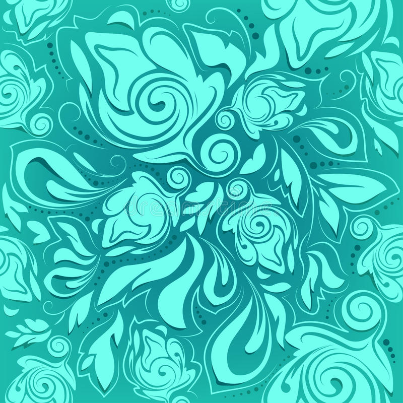 Modelo inconsútil floral, fondo abstracto de la turquesa ilustración del vector