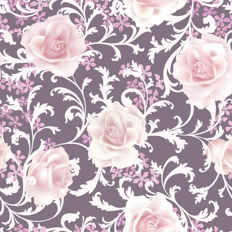 Modelo inconsútil floral Fondo color de rosa de la flor Prospere el texure del jardín libre illustration
