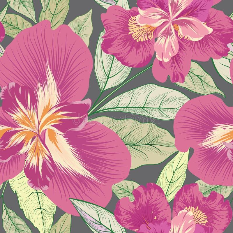 Modelo inconsútil floral Fondo de la flor Prospere el lepisosteus de la naturaleza stock de ilustración