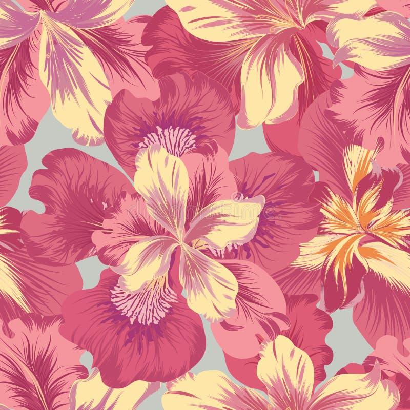 Modelo inconsútil floral Fondo de la flor Prospere el lepisosteus de la naturaleza ilustración del vector
