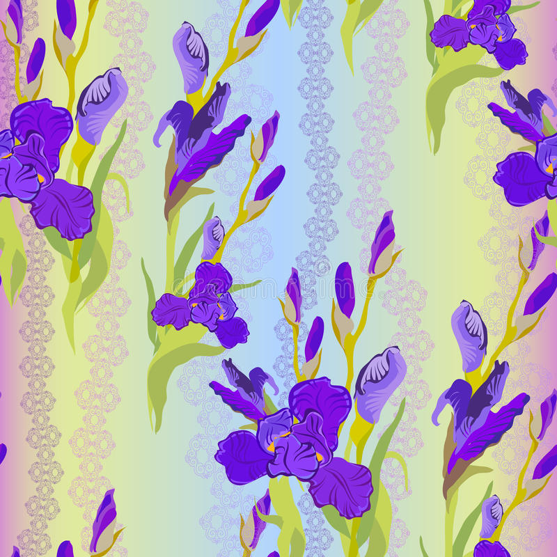 Modelo inconsútil floral Fondo de la luz del iris de la flor libre illustration