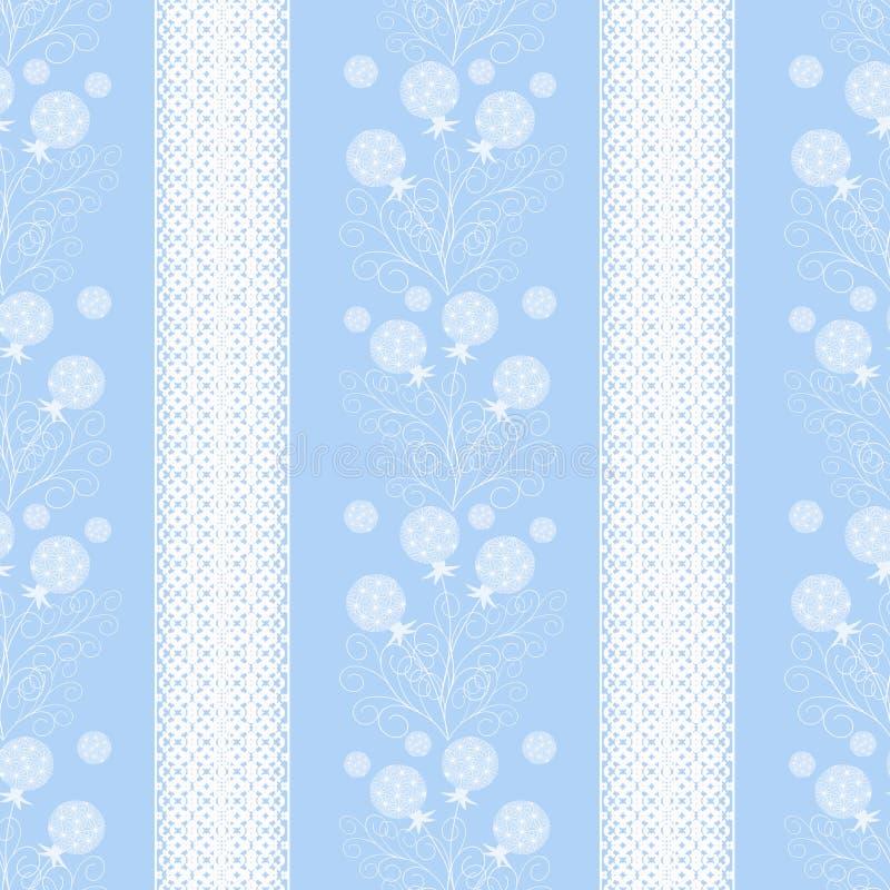 Modelo inconsútil floral, fondo rayado azul claro de las flores lindas de la historieta ilustración del vector
