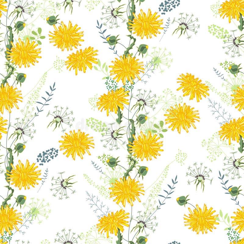 Modelo inconsútil floral hecho de dientes de león amarillos stock de ilustración