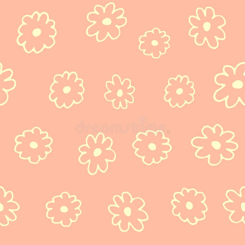 Modelo inconsútil floral hermoso con las flores exhaustas de la mano, diseño colorido de la primavera, fondo rosado suave stock de ilustración