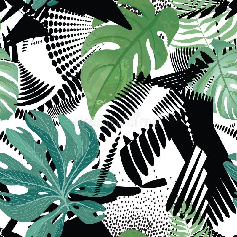 Modelo inconsútil floral Hojas tropicales sobre fondo de pintura abstracto del arte Papel pintado del Flourish fotografía de archivo