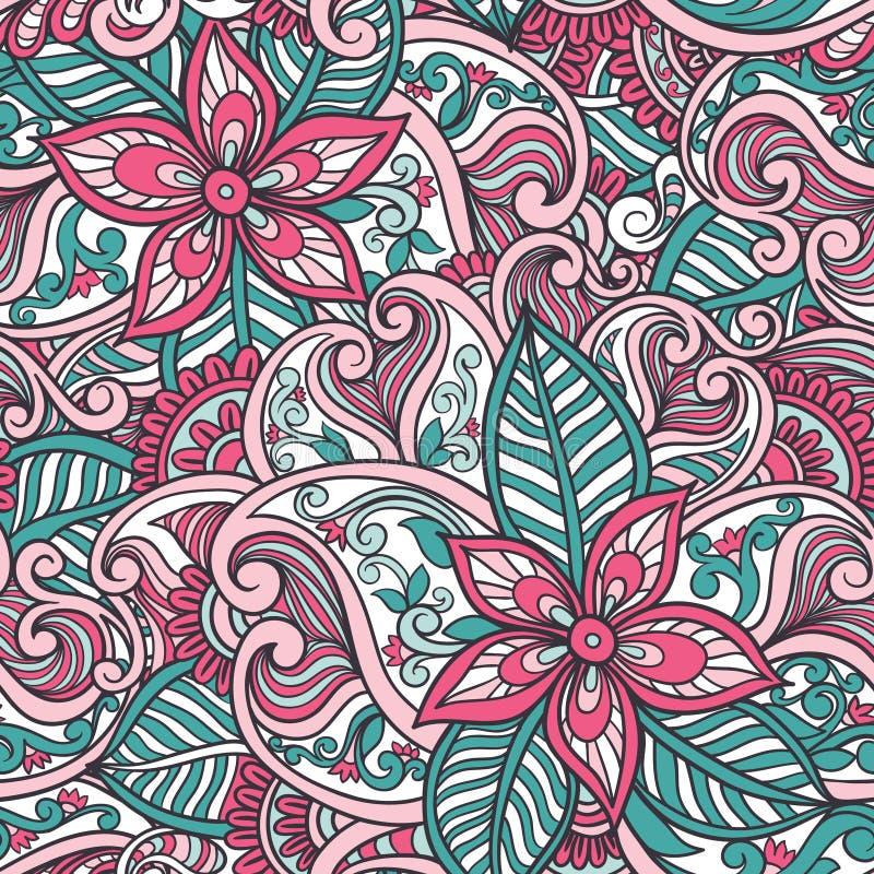 Modelo inconsútil floral indio stock de ilustración