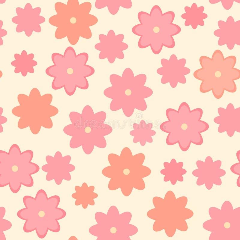 Modelo inconsútil floral lindo, diseño sin fin del vector de la primavera con las flores rosadas stock de ilustración