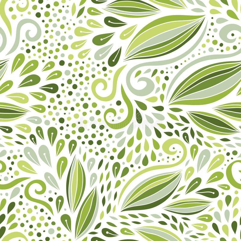 Modelo inconsútil floral Ornamento monocromático verde Impresión del vector para el diseño de la materia textil ilustración del vector