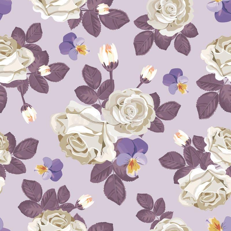Modelo inconsútil floral retro Rosas blancas con las hojas violetas, pensamientos en fondo purpúreo claro Ilustración del vector ilustración del vector