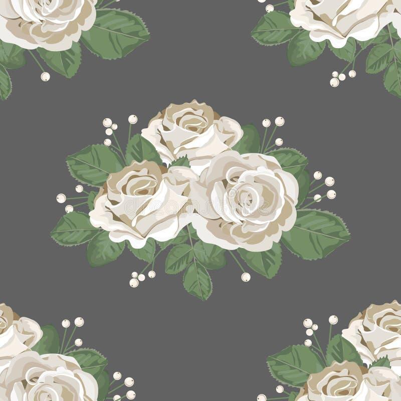 Modelo inconsútil floral retro Rosas blancas en fondo oscuro Ilustración del vector libre illustration