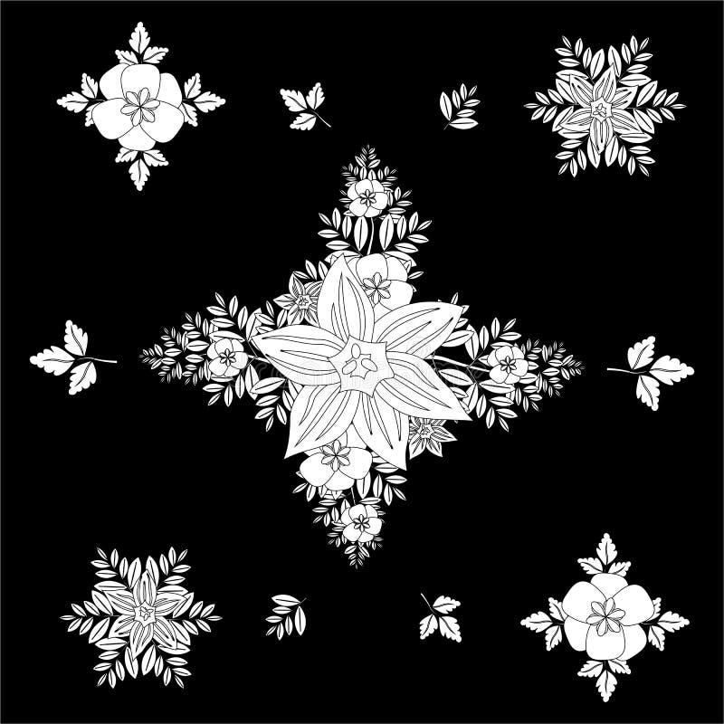 Modelo inconsútil floral rombal blanco y negro con las hojas decorativas Flores del modelo en un fondo negro Ilustración del vect stock de ilustración