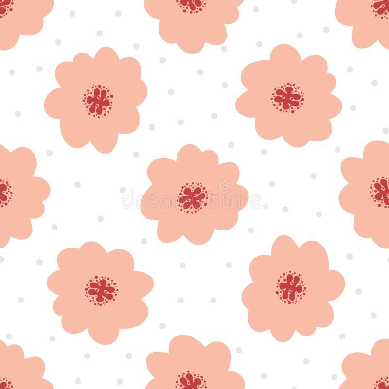Modelo Inconsútil Floral Simple Flores Lindas En Fondo Con Los ...