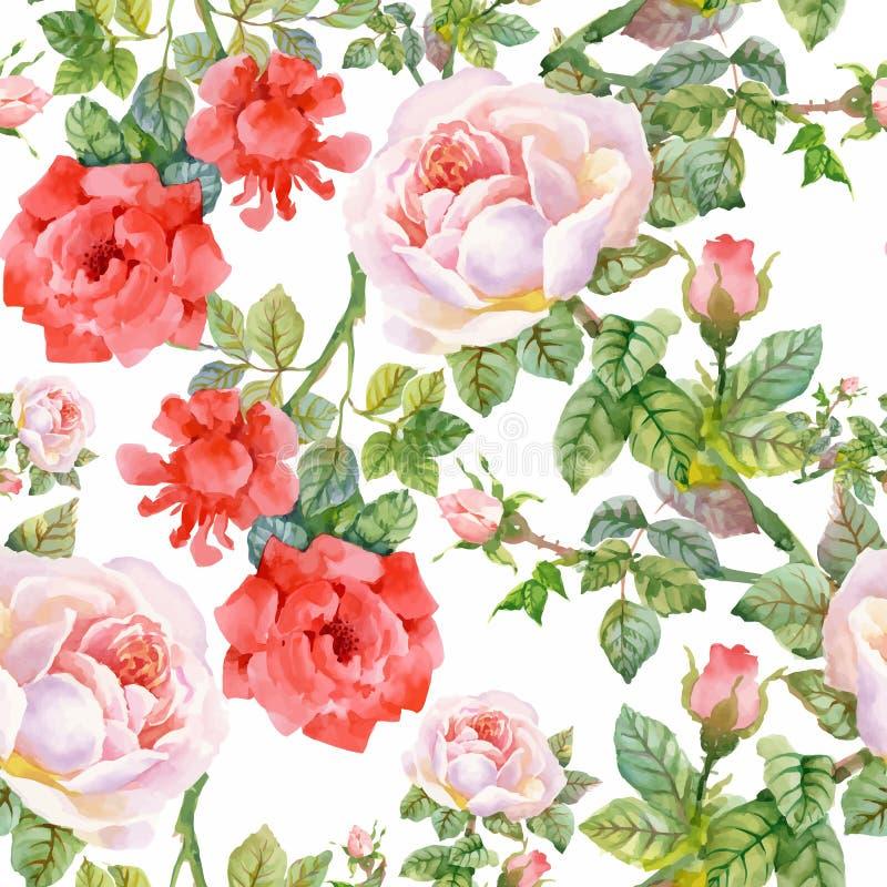 Modelo inconsútil floreciente de las flores de la acuarela del jardín hermoso del verano libre illustration