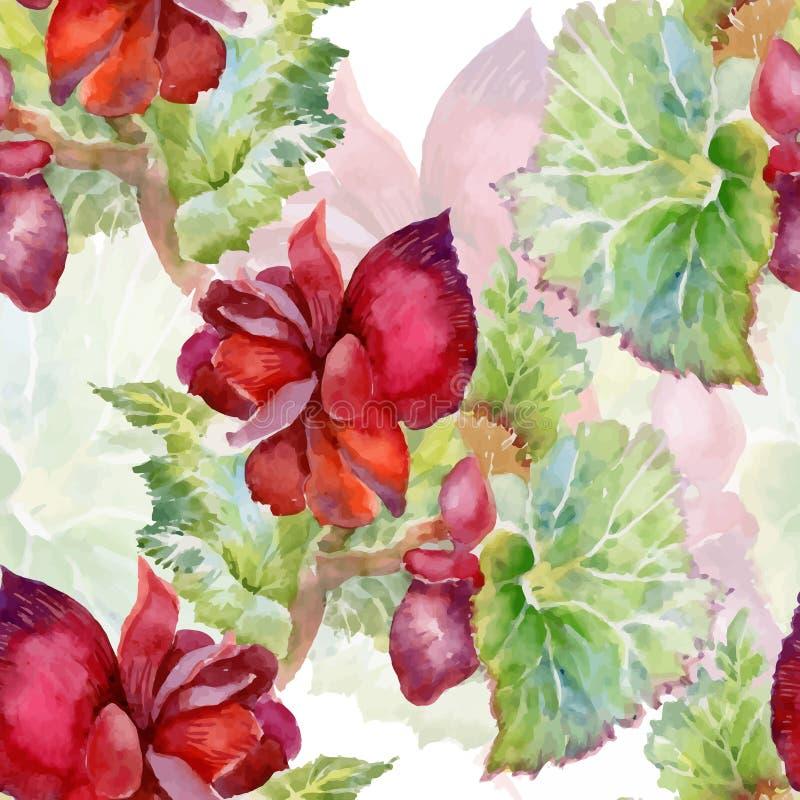 Modelo inconsútil floreciente de las flores de la acuarela del jardín hermoso del verano ilustración del vector