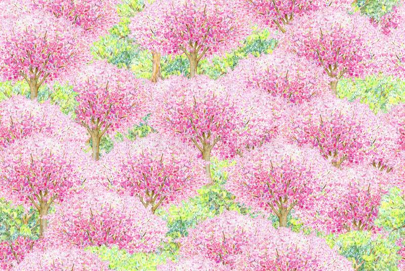 Modelo inconsútil floreciente de los árboles de la primavera ilustración del vector