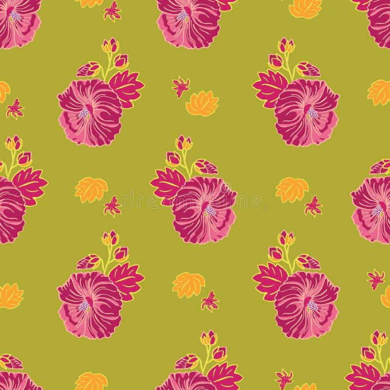 Modelo inconsútil floreciente del vector de la repetición del jardín de flores rojo de la malva en el fondo verde para la tela, s ilustración del vector